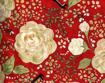 1/2 yd Riverwoods My Secret Garden Red White Floral Fabric from Troy 1463-1