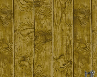 1/2 yd Barnyard Babies Dark Birch Woodgrain Fabric by Two Can Art for Andover A-8587-KN1