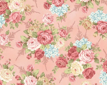 1/2 yd Peaceful Garden Large Floral Toss by Mary Jane Carey for Henry Glass Fabrics 8690-22
