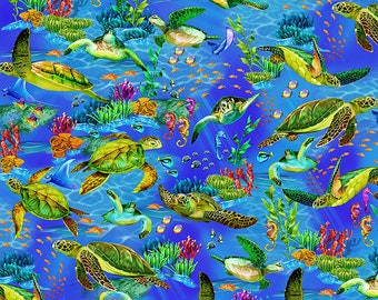 Sealife Vacation Seaturtles Fabric by Michael Searle for Timeless Treasures C6154-Ocean by the Half Yard