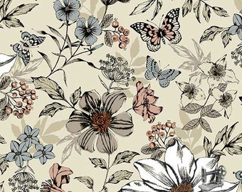 1/2 yd Dream Botanica Large Floral Cream by The Henley Studio for Andover/Makower Fabric 1862-Q