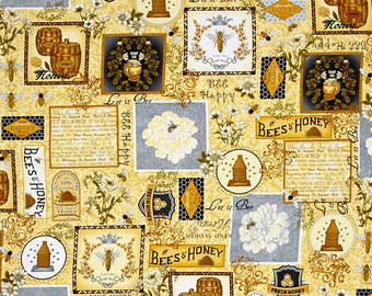 1/2 yd Let it Bee Honey Collage Fabric by Exclusively Quilters 4410EQ-61378-40