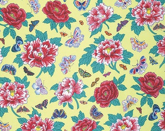 Floating World Peony & Butterflies Fabric // Snow Leopard // FreeSpirit PWSL023.ZESTX by the HALF YARD