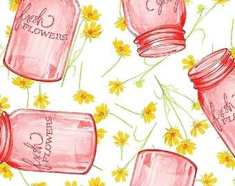 1/2 yd Cottage Joy Flower Jars by Shannon Christensen for Windham Fabrics 50578-3