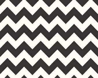 SALE Chevron Fabric Le Creme Medium Chevron Basic by Riley Blake Designs C640-110 Black PER yard
