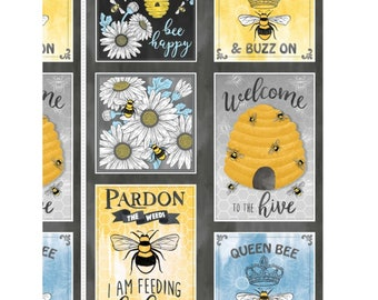 "Queen Bee Welcome to the Hive 24"" Fabric Panel // Michael Miller DC9153-CHAR-D"