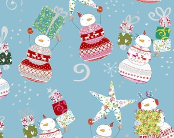 Happy Christmas Snowman Toss Fabric from Quilting Treasures 27257-B by the Half Yard