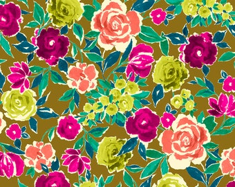 1/2 yd Zola Large Floral Fabric by Ink & Arrow for Quilting Treasures 26139 -H