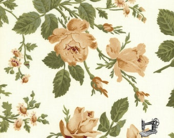 SALE Evelyn Cocoa Roses on Cream by Whistler Studios for Windham Fabrics 41982 3 PER YARD