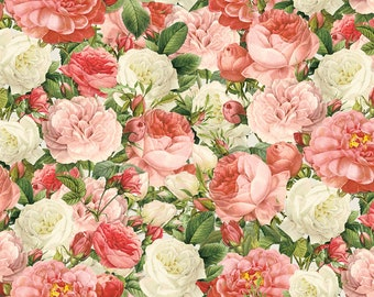 1/2 yd Paris Spring Vintage Rose Bouquet Fabric by David Textiles DATCA-3038-5C-1