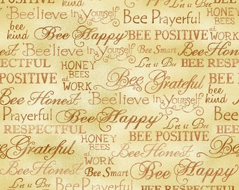 Bee Kind Happy Words Fabric // Paintbrush Studio by the Half Yard