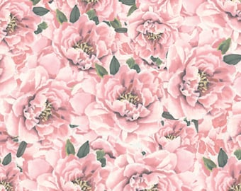 1/2 yd Forever Fashion Peonies Fabric by David Textiles DATWA-5502-8C-2 Pink
