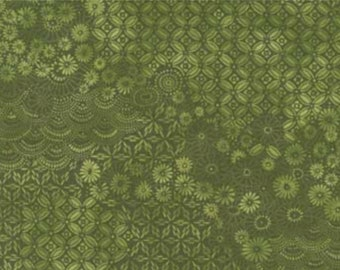 Tadashi Blossoms Fabric // Arina Fishkin // Red Rooster 24142 Green by the HALF YARD