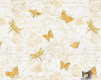 1/2 yd Hydrangea Dreams Gilded Butterflies Fabric by Chad Barrett for Wilmington Prints 3008 96440 151