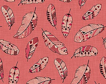1/2 yd Great Plains Feather Toss Fabric by Nina Djuric for Northcott 22938-22 Warm