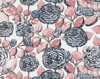 1/2 yd Sweet Stems Main Floral Fabric by Sue Daley Designs for Penny Rose // Riley Blake Designs C8270-OFFWHITE