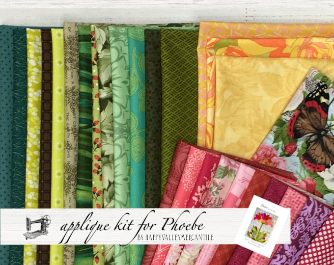FREE SHIPPING Appliqué Fabric Kit for Phoebe Quilt by Laura Heine for Fiberworks FBWPHOEBE
