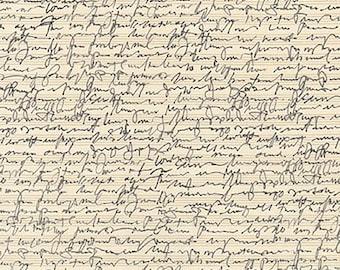 1/2 yd Chalk & Charcoal Parchment Script Writing by Jennifer Sampou for Robert Kaufman Fabrics AJS-17514-265