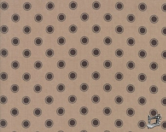 "END of BOLT 12"" Olives Flower Market Floral Parisian Dots Fabric by Lella Boutique for Moda Fabrics 5036 16 Taupe"
