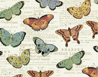 1/2 yd Bookshelf Botanicals Butterflies by Katie Pertiet for Whistler Studios & Windham Fabrics 43385M-1