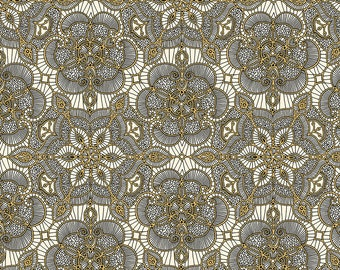 1/2 yd Luminous Lace Medallion Fabric from Quilting Treasures 24432-EJ Cream