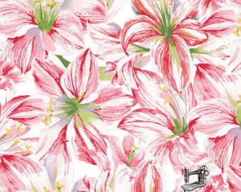 1/2 yd Holidays Remembered Watercolor Floral Fabric by Barb Tourtillotte for Clothworks Y2402-1