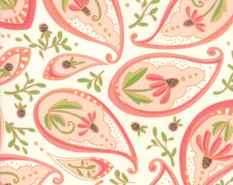 1/2 yd Painted Meadow Coneflower Paisley by Robin Pickens for Moda Fabrics 48661 11 Cream