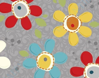 1/2 yd Pop Daisy Charcoal by Adornit Fabrics 00364