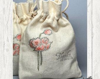 Muslin/Linen Drawstring Favor // Treat Bag Set of 3 by Moda Home 999 44 SML