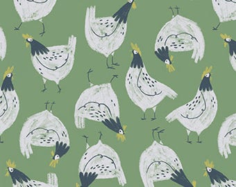 1/2 yd Garden Sanctuary Shamrock Chickens by Rae Ritchie for Dear Stella ST-SRR861SHA
