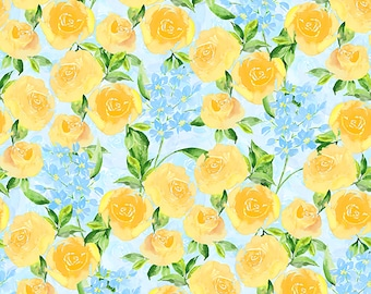 1/2 yd Bloom True Packed Blue Floral Fabric by Charlotte Grace for Wilmington Prints 3021 10504 454
