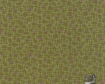 1/2 yd Prints Charming Geometric Boxes Dark Green 2016 by Sandy Gervais for Moda Fabrics 17846 15 Olive