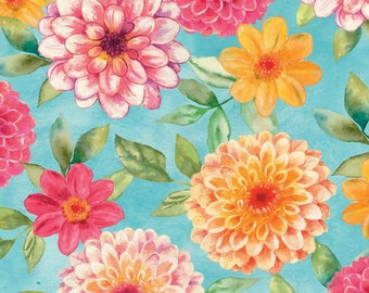 1/2 yd Prelude Aqua Large Floral Fabric by Cynthia Coulter for Wilmington Prints 42420-737