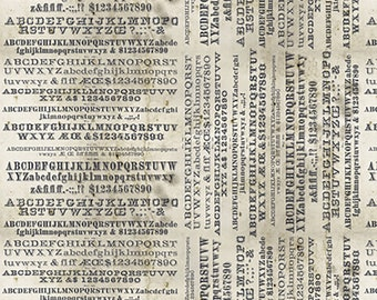 1/2 yd Dapper Typography Fabric by Tim Holtz for FreeSpirit Eclectic Elements  PWTH057.8NEUT
