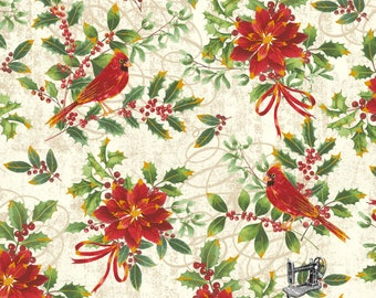 1/2 yd Noel Cardinals Christmas Floral by Whistler Studios for Windham Fabrics 42394M-1