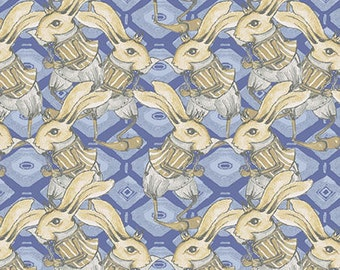 1/2 yd SALE Riddles And Rhymes Bunny by Tina Givens for Free Spirit PWTG157 ROYAL