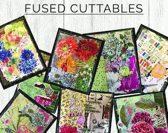Fused Fabric Cuttables Starter Collage Quilt Kit // Card Making // Fusible Flowers