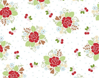 """END of BOLT 9"""" Sew Cherry 2 Main Floral Fabric by Lori Holt for Riley Blake C5800 White"""