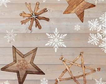 Warm Winter Wishes Wood Grain with Snowflakes & Stars Fabric // StudioE 5875-33 by the Half Yard