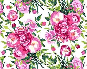 Berkshire Garden Main Floral Fabric // Lila Tueller // Riley Blake C6840 by the Half Yard