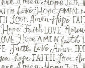 Faith Hope Love Amen Words Fabric  // Timeless Treasures Gail C7858 White by the Half Yard