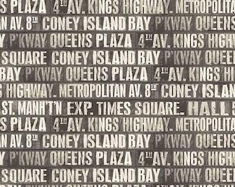 Tim Holtz Monochrome Subway Signs Fabric // FreeSpirit PWTH173.CHARCOAL by the Half Yard
