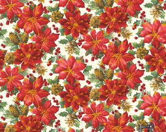 SALE Noel Packed Poinsettia Christmas Floral Fabric // Windham 42396M-1 by the YARD