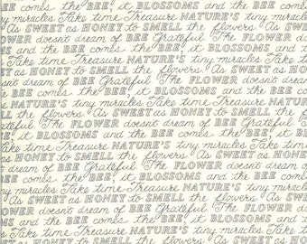 Bee Grateful Sweet Words Fabric // Moda 19963 11 Parchment by the HALF YARD