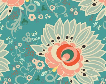 1/2 yd Rapture Euphloria by Pat Bravo for Art Gallery Fabrics RPT 2704 Coral