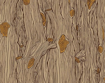 Menagerie Tree Bark Fabric // Paintbrush Studio 120-99742 Dark Brown by the Half Yard
