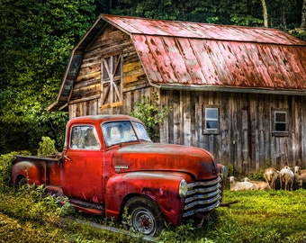Best of America Red Truck at the Barn Fabric Panel // Four Seasons AL-3716-8C-2
