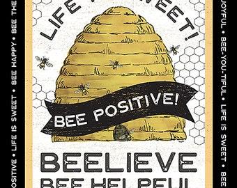 "Bee's Life Beehive 24"" Fabric Panel // Riley Blake P10105"