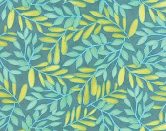 Tucker Prairie Foxtail Leaves Vinca Fabric // One Canoe Two // Moda Fabrics by the Half Yard