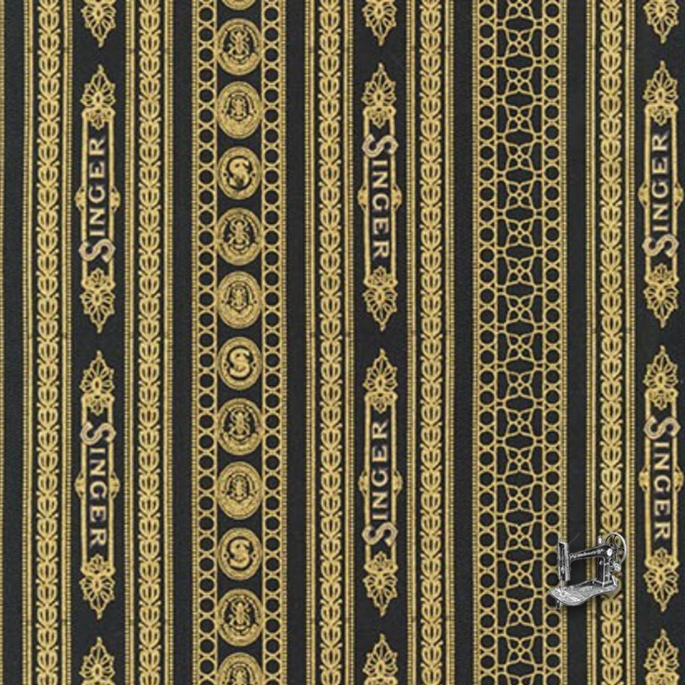 fabric by the yard Robert Kaufman Fabrics Sewing With Singer AGZM-17020-2 Black fabric by the metre Metallic